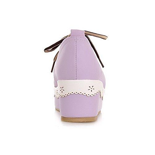 AllhqFashion Damen Rund Zehe Mittler Absatz Weiches Material Schnüren Pumps Schuhe Lila
