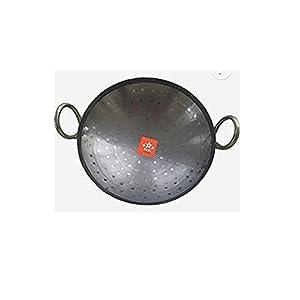 BRRL Iron Kadai Lokhand Loha Kadhai Hand Hammered Heavy Cooking Pan, 10 Inch, Black