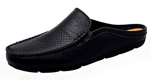 Go Tour Mens Mules Clog Slippers Breathable Leather Slip on Shoes Casual Loafers Black Punched - Dress Shoes Loafers Leather