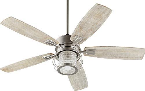 Quorum 3525-65 Protruding Mount, 5 Weathered Oak Blades Ceiling fan with 14 watts light, Satin Nickel (Quorum Ceiling Fan Windmill)