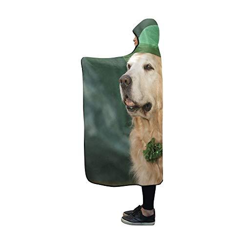 YUMOING Hooded Blanket Golden Retriever Saint Patricks Day Costume Blanket 60x50 Inch Comfotable Hooded Throw ()
