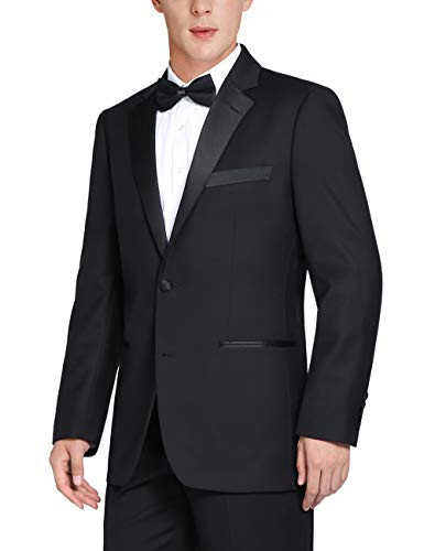 Chama Men's Single Breasted 2 Piece 2 Button Satin Notched Lapel Classic Fit & Slim Fit Tuxedo Suit (Charcoal Black, 48 Long /42 Waist) ()