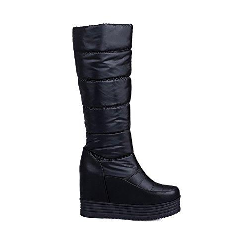 Materials Closed Mid Allhqfashion Square Blend Toe Calf Heels High Boots Black Women's WwcRIOqRT0