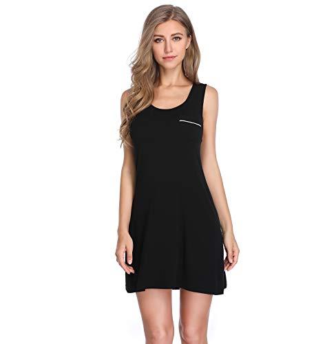 Lusofie Nightgowns for Women Sexy Sleeveless Tank Sleepdress Full Slip Nightie