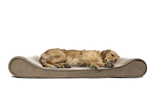 Furhaven Pet Dog Bed | Orthopedic Microvelvet Luxe Lounger Pet Bed for Dogs & Cats, Clay, Jumbo
