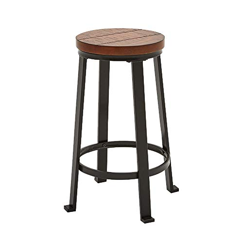 24 Inch Counter Bar Stools, Set Of 2 , Rustic Round, Modern Vintage Brown Wooden Top - Waski Space CF3011 (24 Inch Round Bar Stool)
