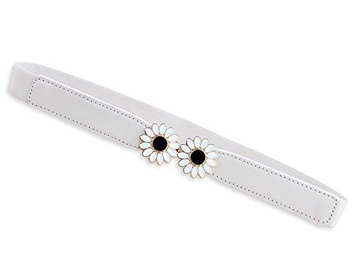 Glamorstar Vintage Daisy Buckle Elastic Waistband Cinch Skinny Thin Belt White