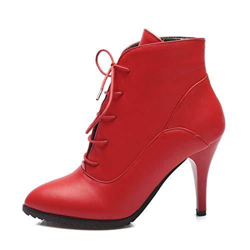 Toe À Seraph Rouge Bottines L102 Femmes Lacets À Lacets Lacets À 8r48qxRwY