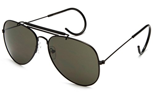 Timeless Classic Aviator Sunglasses with Brow Bar and Cable Wire Wrap Ears Temples Secured Fit ()