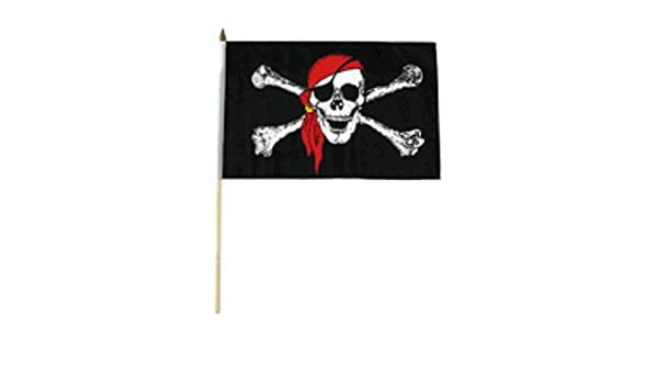 """12x18 12/""""x18/"""" Wholesale Lot 12 Jolly Roger Pirate Surrender Booty Red Stick Flag"""