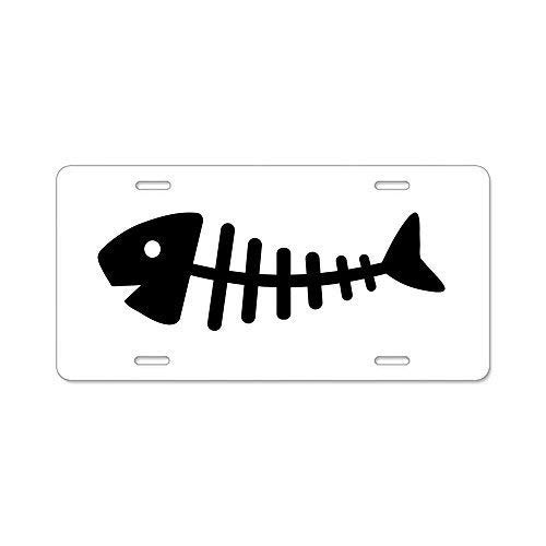 ASLGlicenseplateframeFG Fishbone License Plate Cover Novelty Metal License Plate for Front of The Car Vanity Gifts - Cover Fishbone