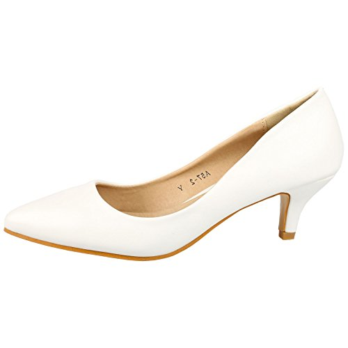 Shoes White Toe Low Slip Womens ByPublicDemand On Heel Kitten Miranda Leather Court Pointed Faux vwWBZqPa