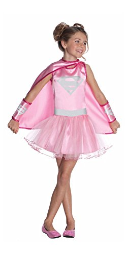 [Supergirl Pink Tutu Costume Dress w/Belt, Cape & Gauntlets: Girls Size Small 4-6] (Supergirl Costumes Pink)