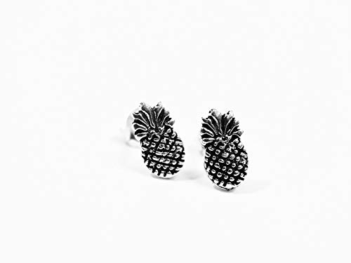 Sterling Silver Oxidized Pineapple Stud Earrings - Handcrafted