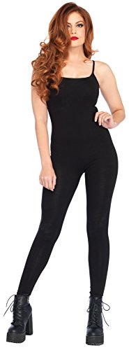 UHC Women's Basic Unitard Bodysuit Funny Theme Skinsuit Halloween Costume, Black, S/M (Black Skinsuit)