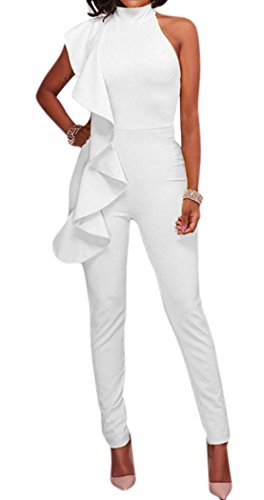 Womens White Pants Suit (Jefferson Women's Sexy Sleeveless One Shoulder Ruffle Bodycon Long Pants Jumpsuit Rompers (M, White))