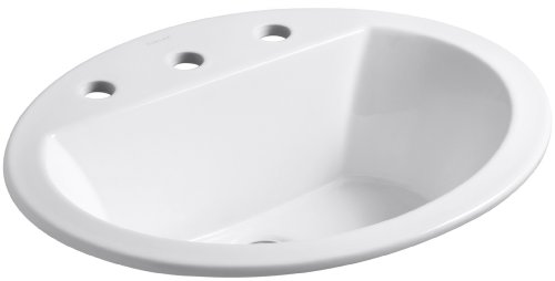 KOHLER K-2699-8-0 Bryant Oval Self-Rimming Bathroom Sink with 8-Inch Centers, White by Kohler