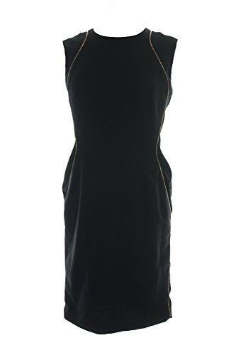 - Anne Klein Black Sleeveless Zip-Detail Sheath Dress