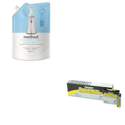(KITEVEEN91MTH00662 - Value Kit - Method Foaming Hand Wash Refill (MTH00662) and Energizer Industrial Alkaline Batteries (EVEEN91))