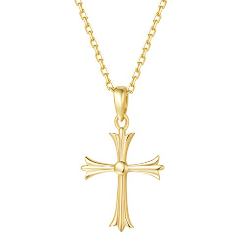 """Carleen Solid Real 14K Yellow Gold Small Tiny Little Cute Embossed Cross Crucifix Delicate Necklace Dainty Pendant Fine Jewelry for Women Girls, with 18"""" Solid Gold Cable Chain"""