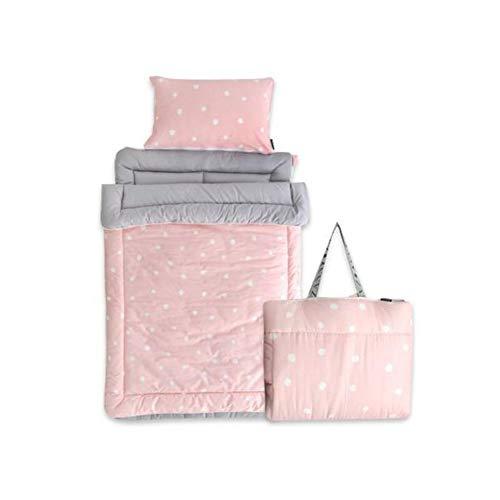 Cotton Kids Toddler Lightweight and Soft Nap Mat Backpack Set Sleeping Bag for Children (Dot Pink)