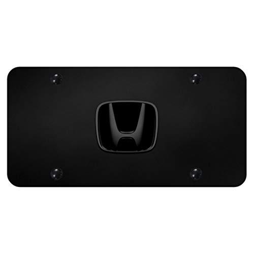 Honda Car Emblems - Honda Pearl Black Emblem Logo Front License Plate Frame Black Stainless Steel