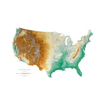Amazon Com United States Topographic Wall Map By Raven