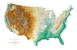 Amazoncom United States Topographic Wall Map By Raven Maps - Us topo relief map