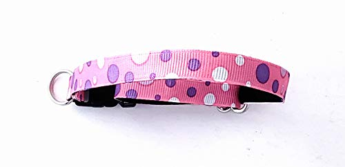 Pink Dots Cat Collars, Safety Breakaway Clasp, Optional Bell ()