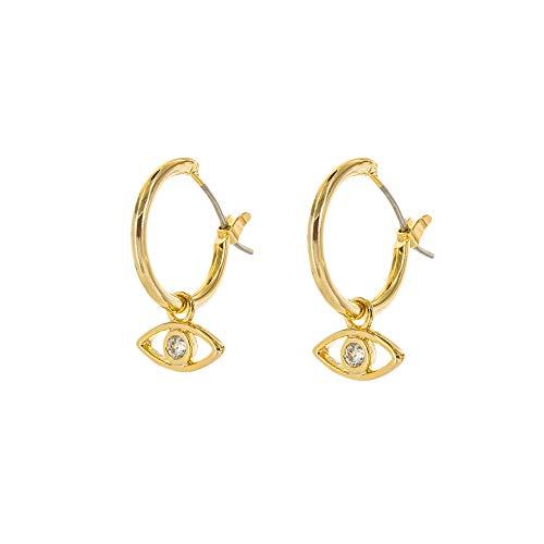 Columbus 14K Gold Dipped Huggie Hoop Earrings - Evil Eye Dangle Drop Earrings - Eye Charms (Gold Evil Eye) ()