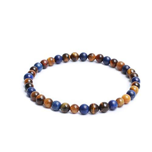 Natural Semi Precious Gemstones Casual Plain Two Tone 6mm Beaded Link Stretch Mens Bracelet - Glossy Yellow & Blue