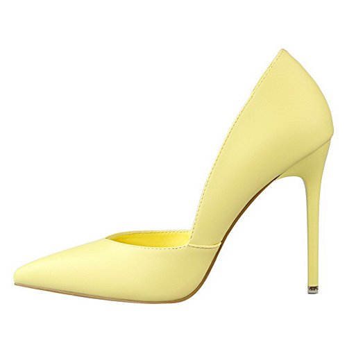 AalarDom Womens Spikes-Stilettos Pointed-Toe Pull-On Solid Pumps-Shoes Yellow-thread 9iX4Tp18