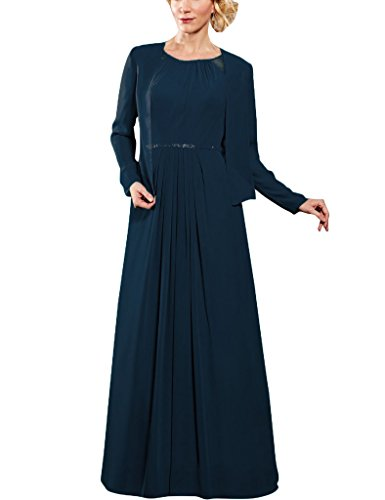 S With Of Wrap H Bride Chiffon The Sleeves Navy Dresses Long Formal Mother D Gowns 4ZvZdqwH