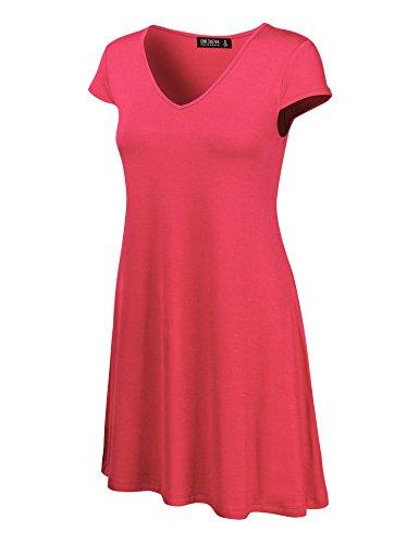 Se Réunissent En Californie Ctc Des Femmes De Partout Dans Mancherons Cou Colorant Cravate V Robe T-shirt - Made In Usa Wdr1068_coral