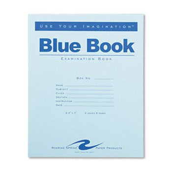 Roaring Spring Examination Blue Book BOOK,EXAM,4SHT,WIDE,BE (Pack of100) by ROARNG