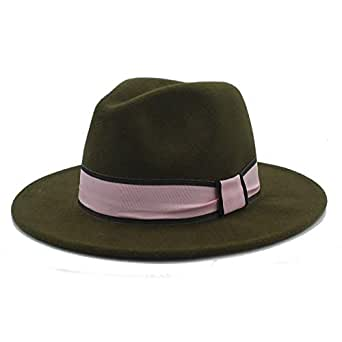 SHENTIANWEI New Men Women Winter Fedora Hat with Pink Cloth Belt Panama Hat Wide Brim Church Fascinator Hat Travel Hat Size 56-58CM (Color : Army Green, Size : 56-58)