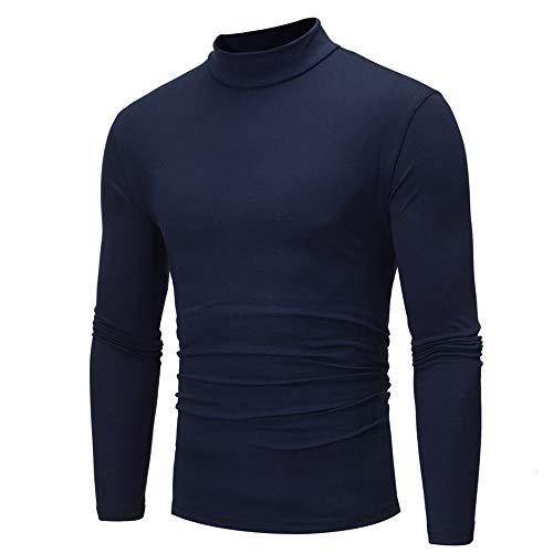Yutao Autumn Winter Men's Casual Striped Turtleneck Long Sleeve T-Shirt Top Blouse (Navy, ()