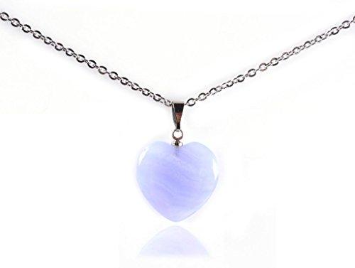 Amandastone Natural Gemstone Heart Charm Pendant Necklaces 18