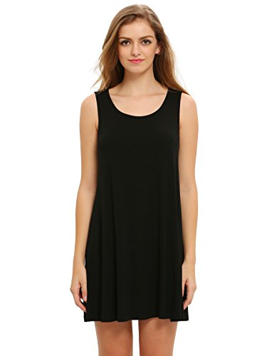 bd4453af10fa ROMWE Women s Casual T-Shirt Sleeveless Swing Dress Tunic Tank Top Dresses