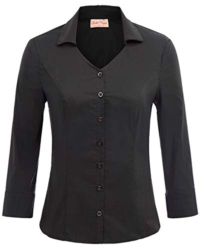 Womens Vintage Tailored 3/4 Sleeve Stretch Simple Button-Down Shirt Small, Black(3/4 ()