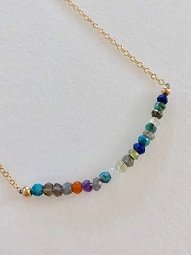 Multi Gemstone Bar Necklace, Rainbow Bar, Dainty Beaded Necklace, Amethyst, Smoky Quartz, Carnelian, Citrine, Aventurine, Lapis, 14K Gold Fill