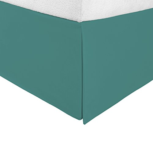 """Superior Infinity Luxury Soft 100% Brushed Microfiber Tailored Bed Skirt with 15"""" Drop, Wrinkle Resistant with Pleats and Split Corners - Queen Bedskirt, Teal"""