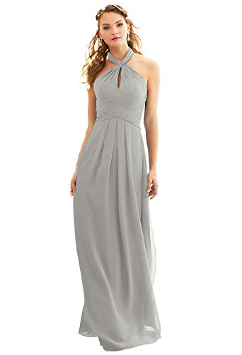 Women's Halter Lace Up Open Back Ruffled Wedding Party Dress Long Bridesmaid Dress Silver Gray Size 6