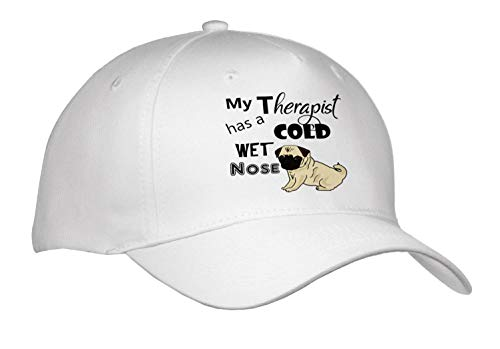 All Smiles Art Pets - Funny My Therapist has a Cold Wet Nose Pug Dog - Caps - Adult Baseball Cap (Cap_287954_1) (My Dog Has A Cold Wet Nose)
