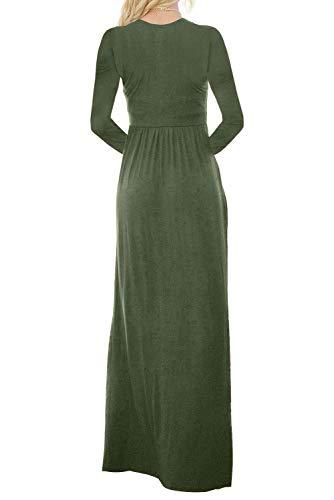 Bouton Des Femmes Hotapei Jusqu'à Robes Maxi Loose À Manches Longues Robes Longues Occasionnels Poches Zip Vert Armée