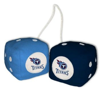 NFL Tennessee Titans Fuzzy Dice,one lt. blue, one blue w/ logo,3