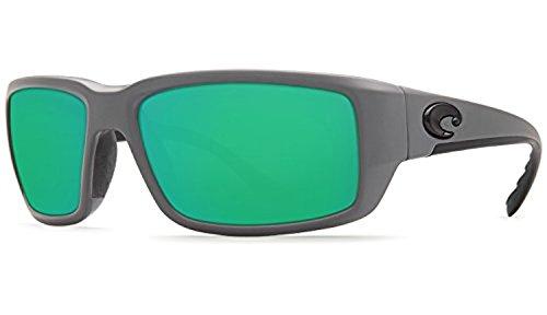 Costa Fantail Sunglasses Matte Gray / Green Mirror 580G & Cleaning Kit - Green Costa 580g Fantail