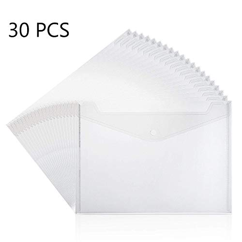 YOTINO Poly Envelope, 30pcs Clear Plastic Waterproof Envelope Folder with Button Closure, A4 Size Project Envelope Folder