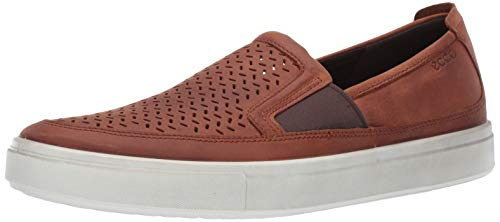 - ECCO Men's Kyle Perforated Slip On Sneaker Cognac Summer 45 M EU (11-11.5 US)