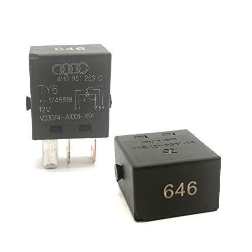 (2 Pack Anti-Theft Multi-Use Micro Power Relay 5 Pin 12v for Audi Skoda VW   Number 646 Fuel Pump Relay 4H0951253C)